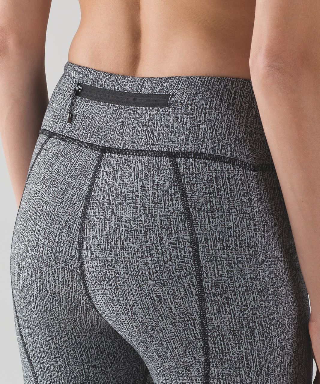 "Lululemon Pace Rival Crop (19"") - Cross Hatch Heather Black Heathered Ice Grey / Black"
