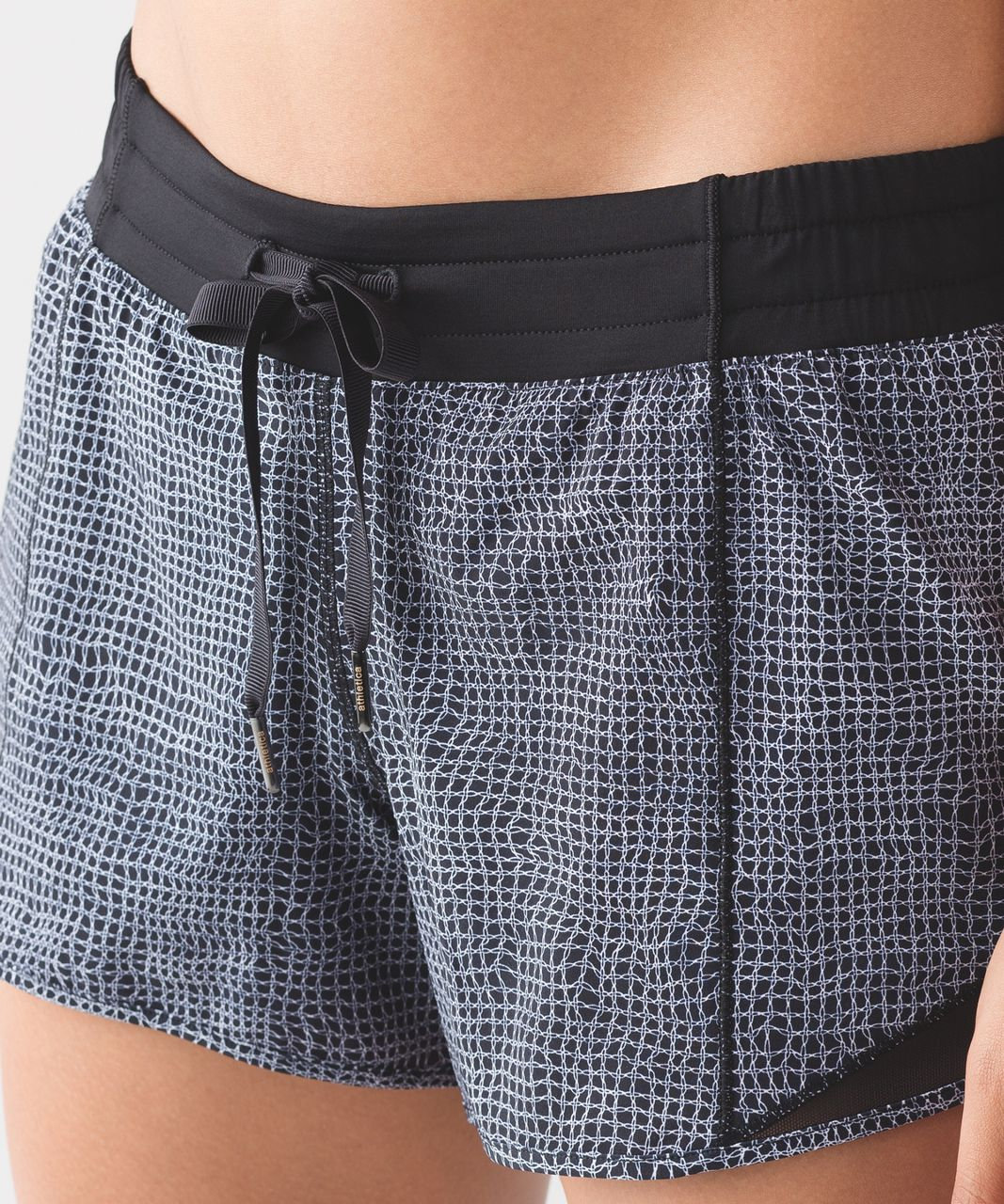 "Lululemon Hotty Hot Short (Long 4"") - Fall Net White Black / Black"
