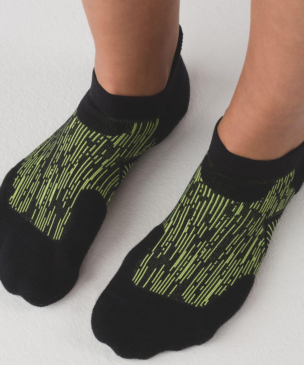 Lululemon High Speed Sock (Silver) - Black / Lime Light / Capri