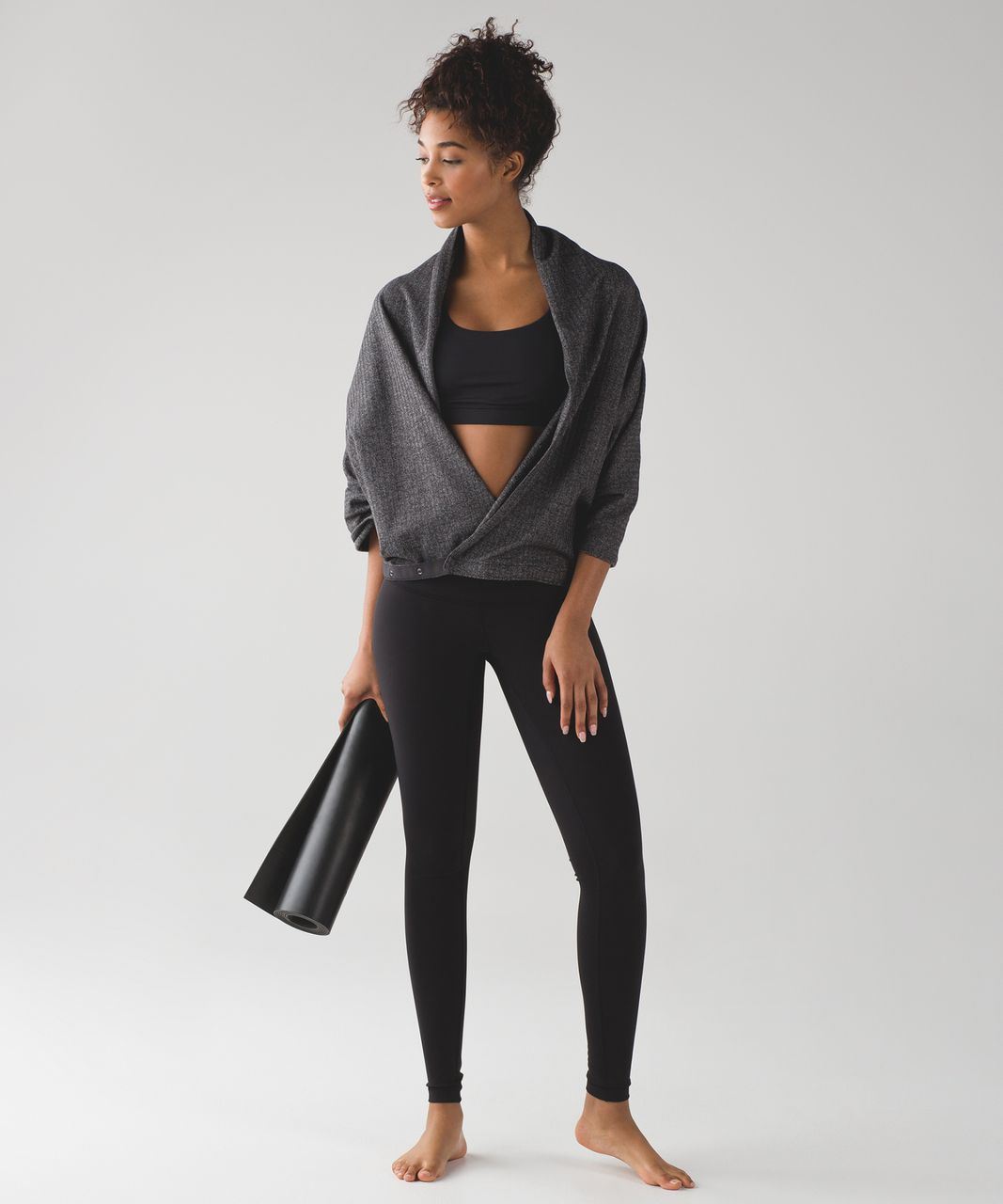 Lululemon Vinyasa Scarf *Rulu - Heathered Herringbone Heathered Black Black