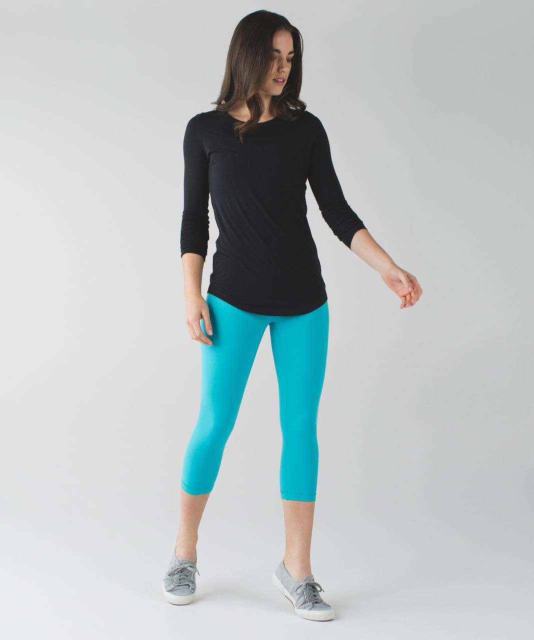 "Lululemon Wunder Under Crop III (21 1/2"") - Peacock Blue / White / Peacock Blue"