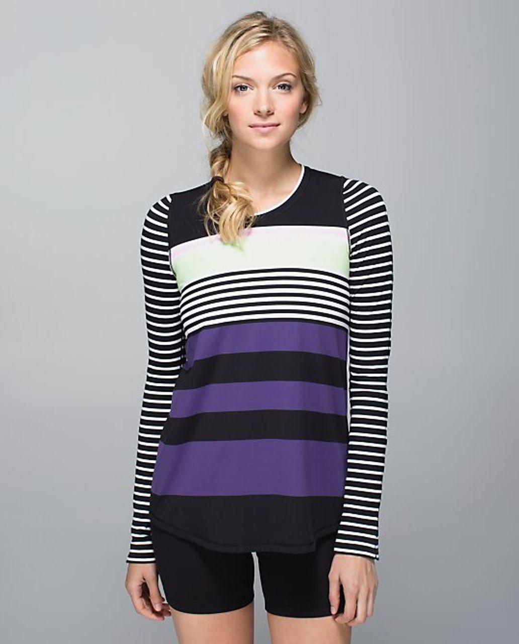 Lululemon Tuck and Flow Long Sleeve - 2014 Seawheeze - Seawall Stripe / Deenie Stripe
