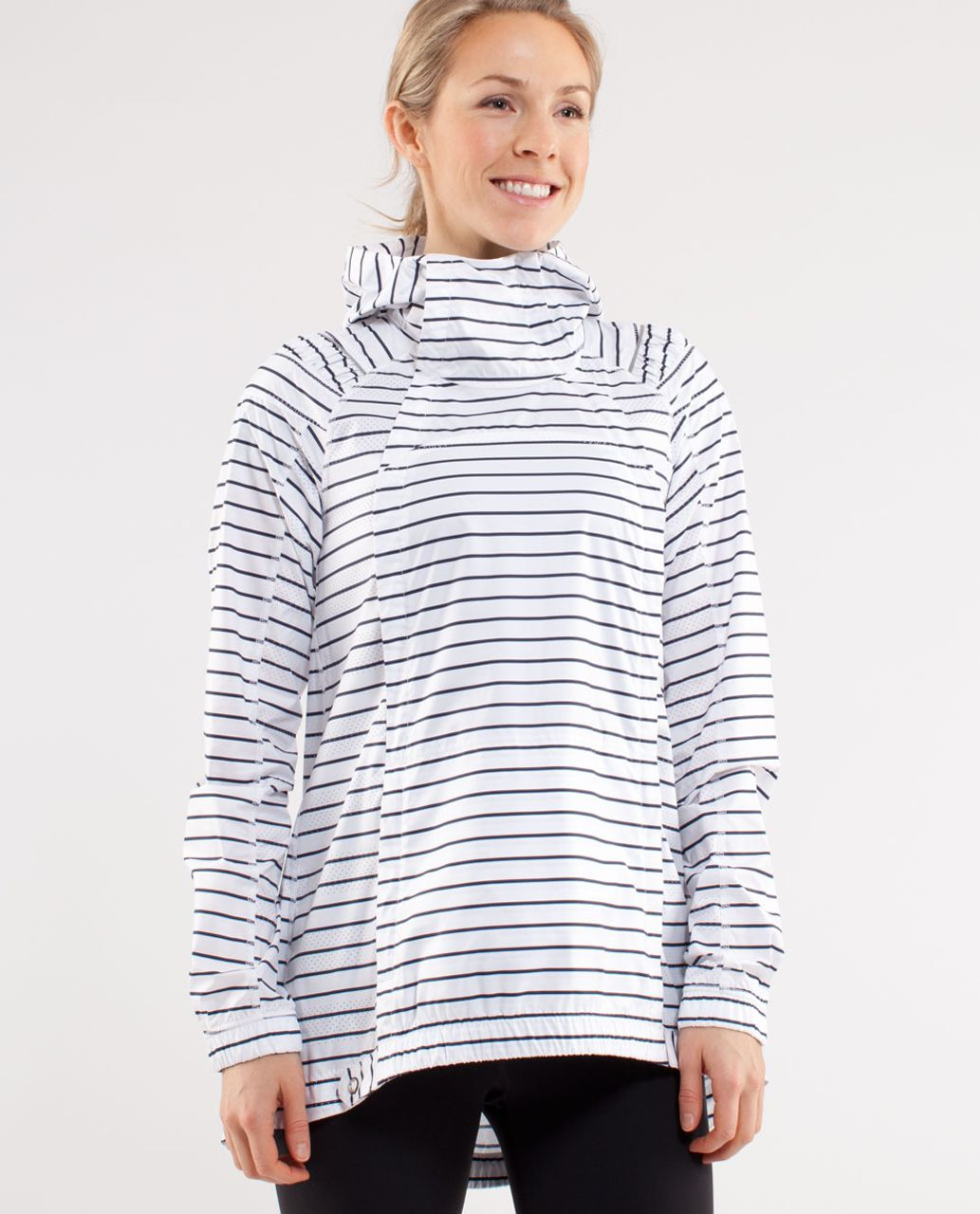 Lululemon Pack and Go Pullover - Quiet Stripe Printed White Deep Indigo