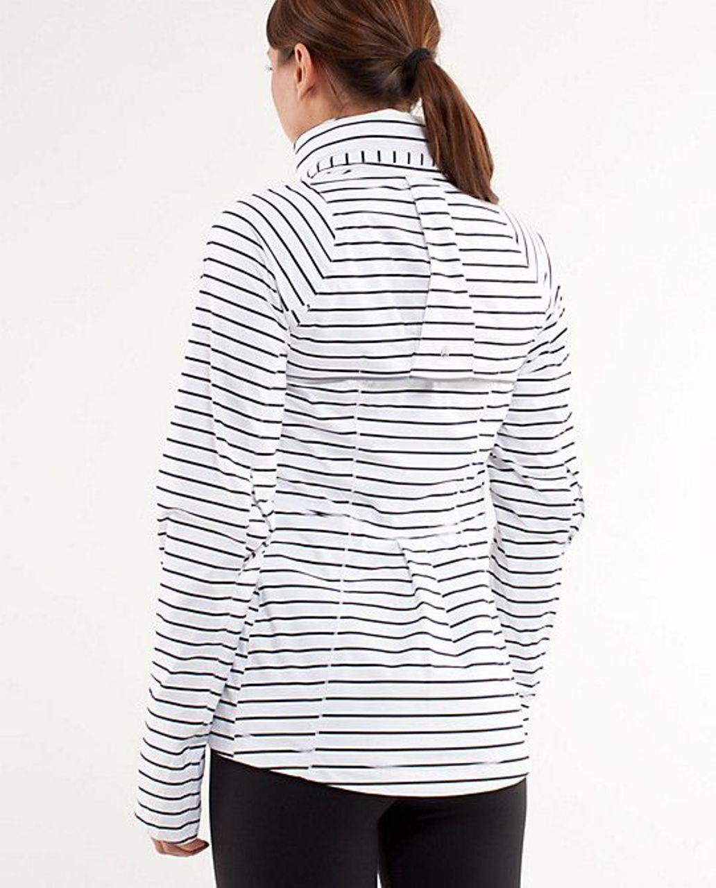 Lululemon Run:  In The Rain Jacket - Quiet Stripe White Deep Indigo