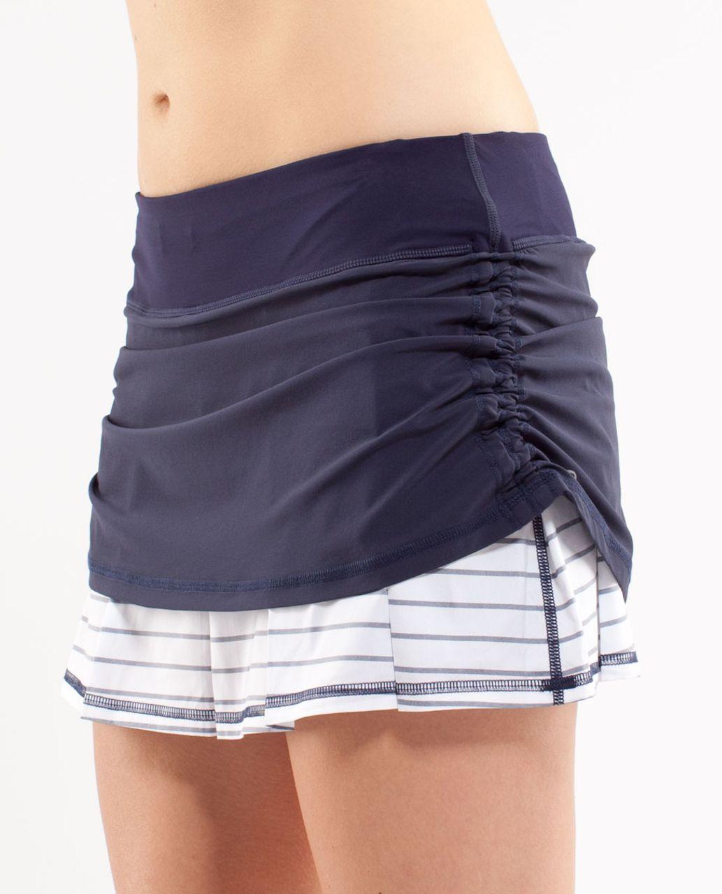 Lululemon Run:  Chase Me Skirt - Deep Indigo /  Quiet Stripe White Deep Indigo