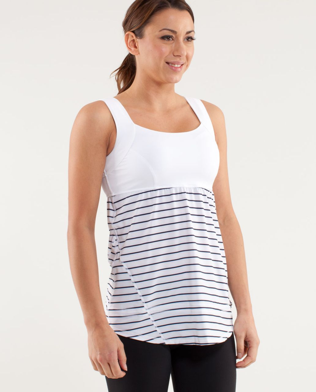 Lululemon Run:  Chase Me Tank - Quiet Stripe Printed White Deep Indigo