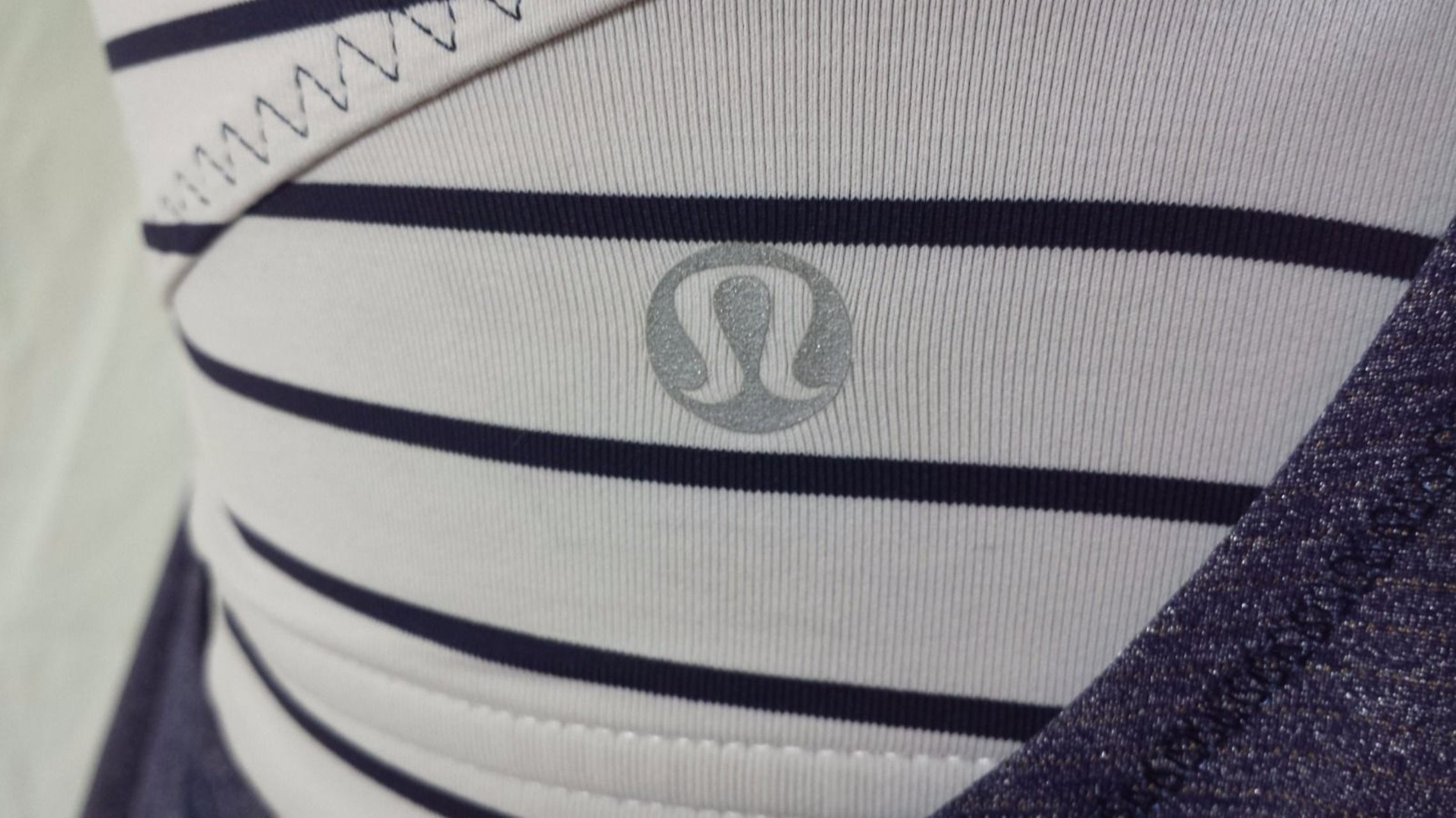 Lululemon Run:  Back On Track Tank - Deep Indigo /  Quiet Stripe White Deep Indigo /  Wide Bold Stripe White Deep Indigo