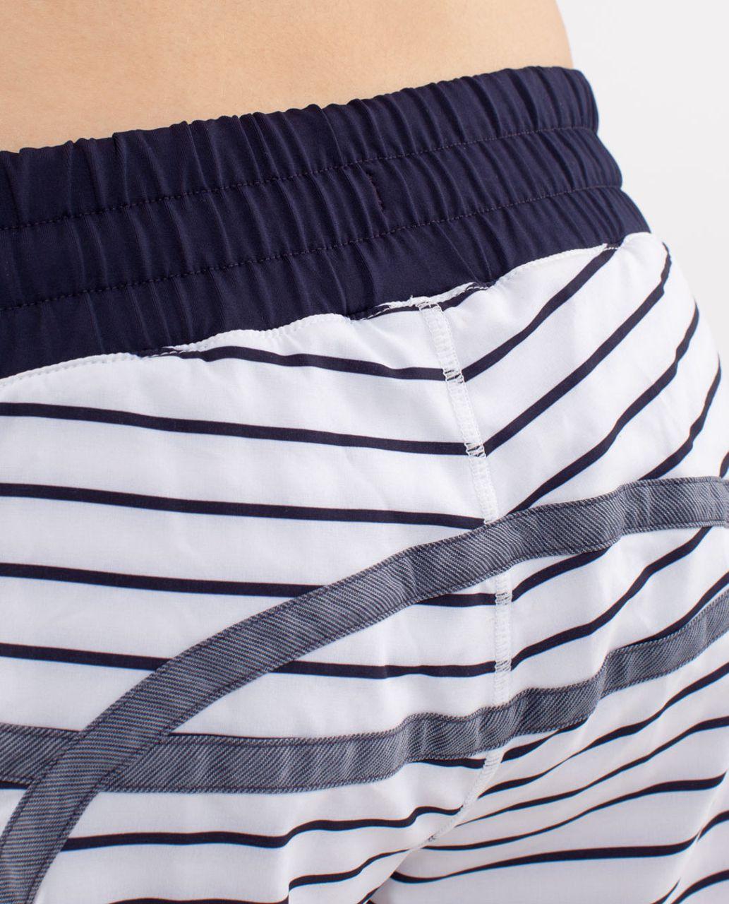Lululemon Run:  Tracker Short II - Quiet Stripe White Deep Indigo /  Deep Indigo
