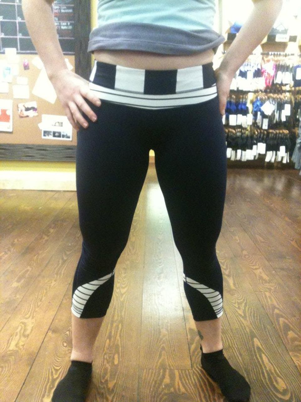 Lululemon Run:  Inspire Crop II - Deep Indigo /  Wide Bold Stripe White Deep Indigo /  Quiet Stripe White Deep Indigo