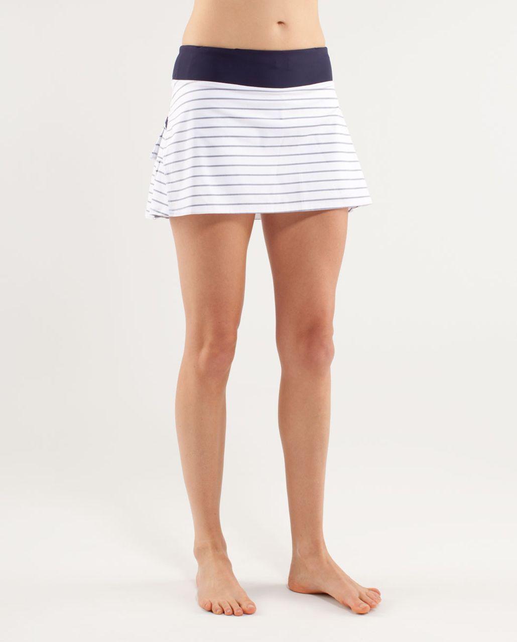 Lululemon Run:  Pace Setter Skirt - Quiet Stripe White Deep Indigo /  Deep Indigo