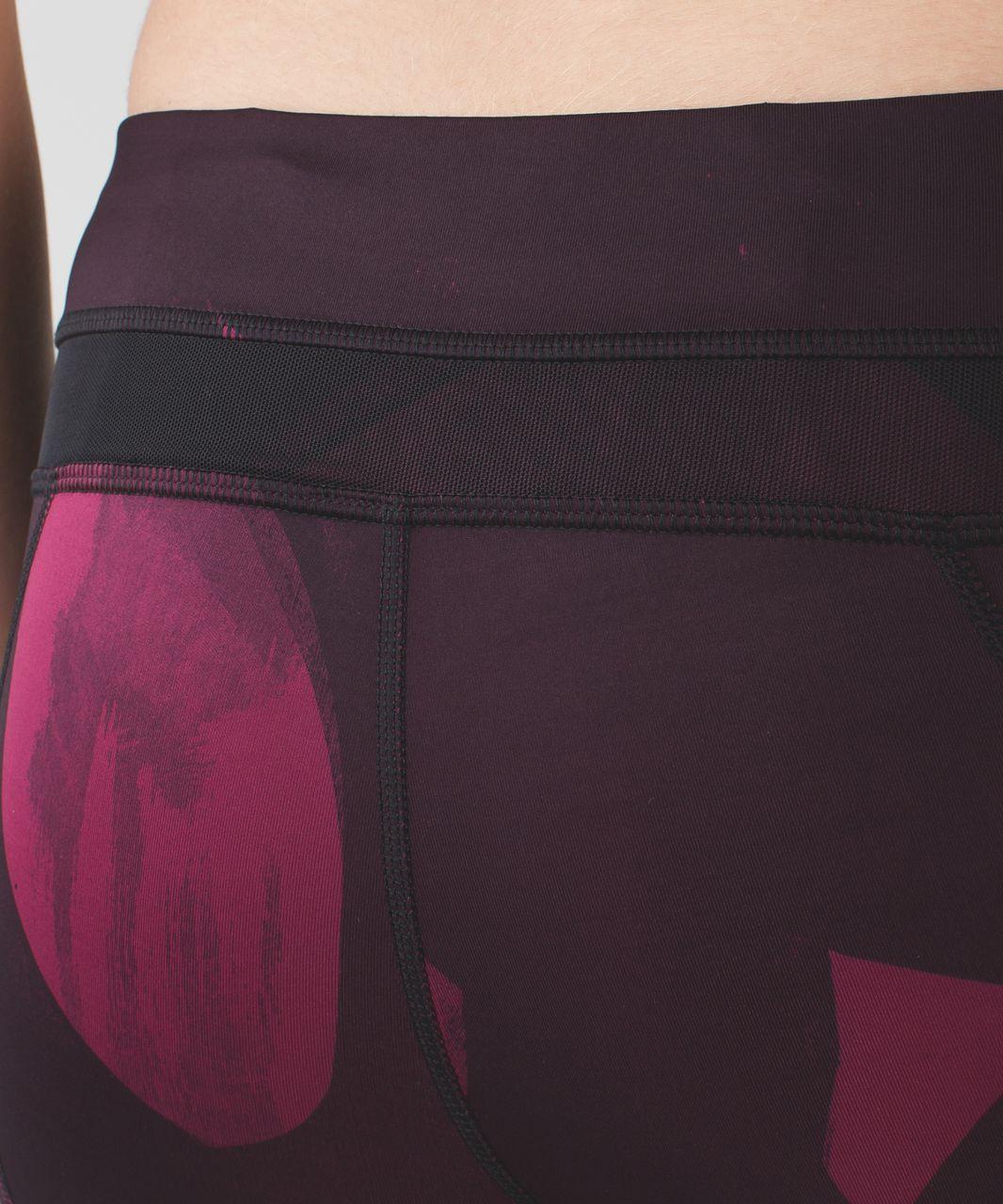 Lululemon Inspire Tight II - Back Spin Stroke Dashing Purple Black / Black