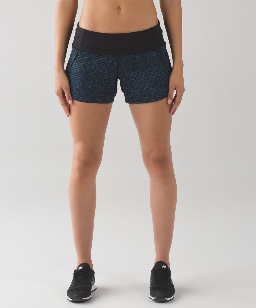 "Lululemon Run Times Short (4"") - Shatter Weave Desert Teal Alberta Lake / Black"