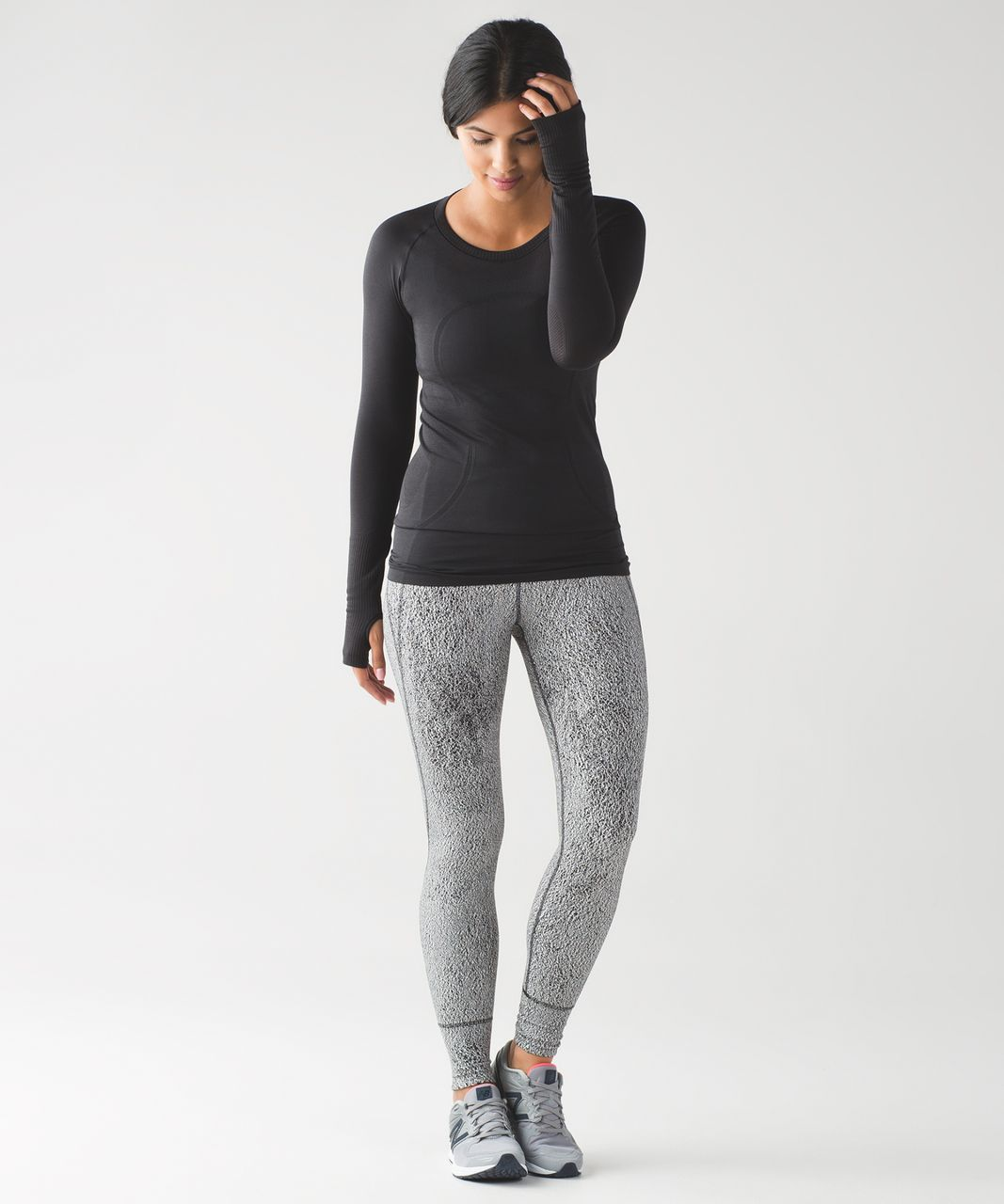 b3cfb9694 Lululemon Rush Hour Tight - Running Luon Spray Jacquard White Black ...