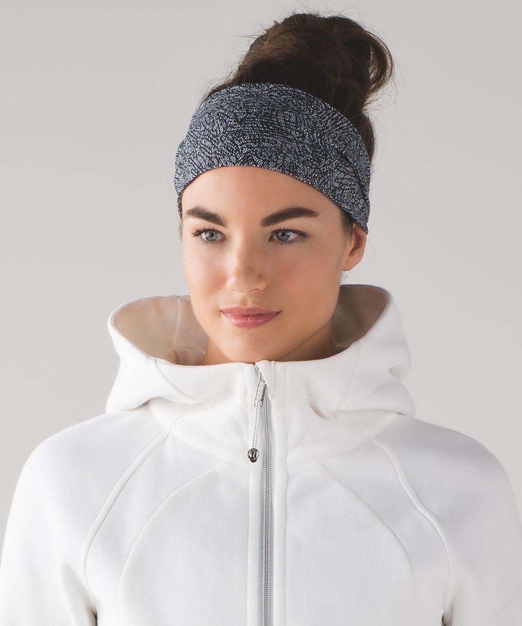 Lululemon Fringe Fighter Headband - Line Up White Black / Heathered Black