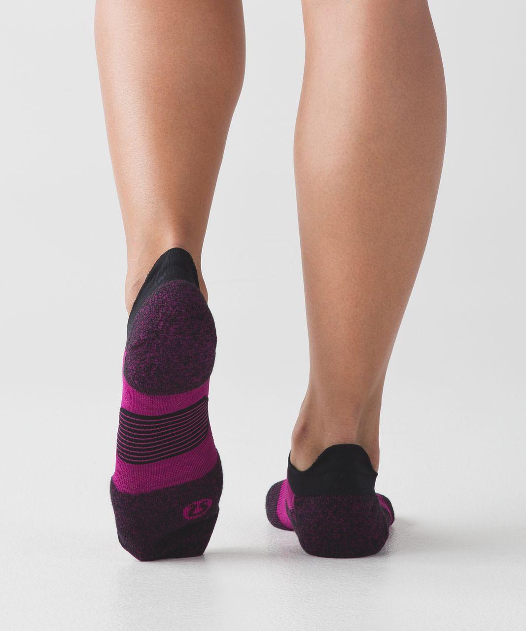 Lululemon High Speed Sock (Silver) - Deep Fuschia / Ripened Raspberry / Black