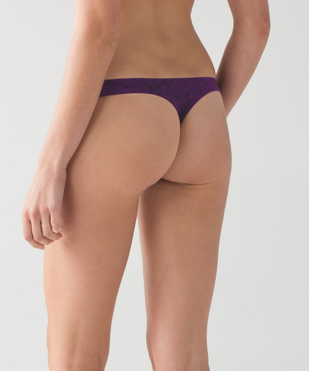 Lululemon Namastay Put Thong - Mini Pencil Lace Aurora Black