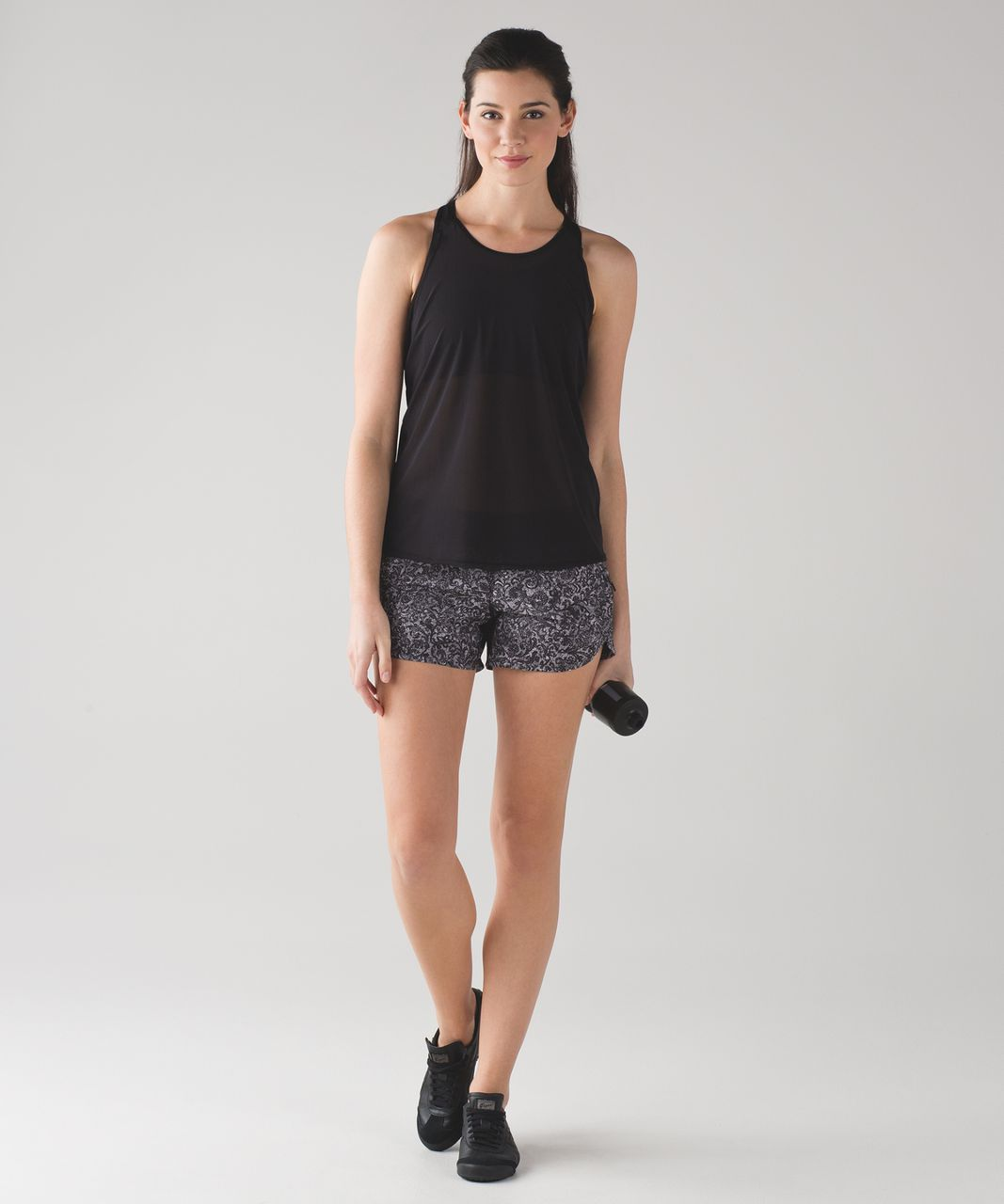 "Lululemon Tracker Short IV (4"") - Mini Cinder Lace White Black / Black"