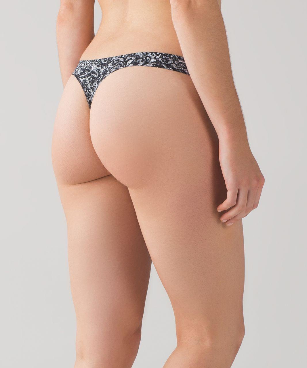 Lululemon Namastay Put Thong II - Mini Cinder Lace White Black