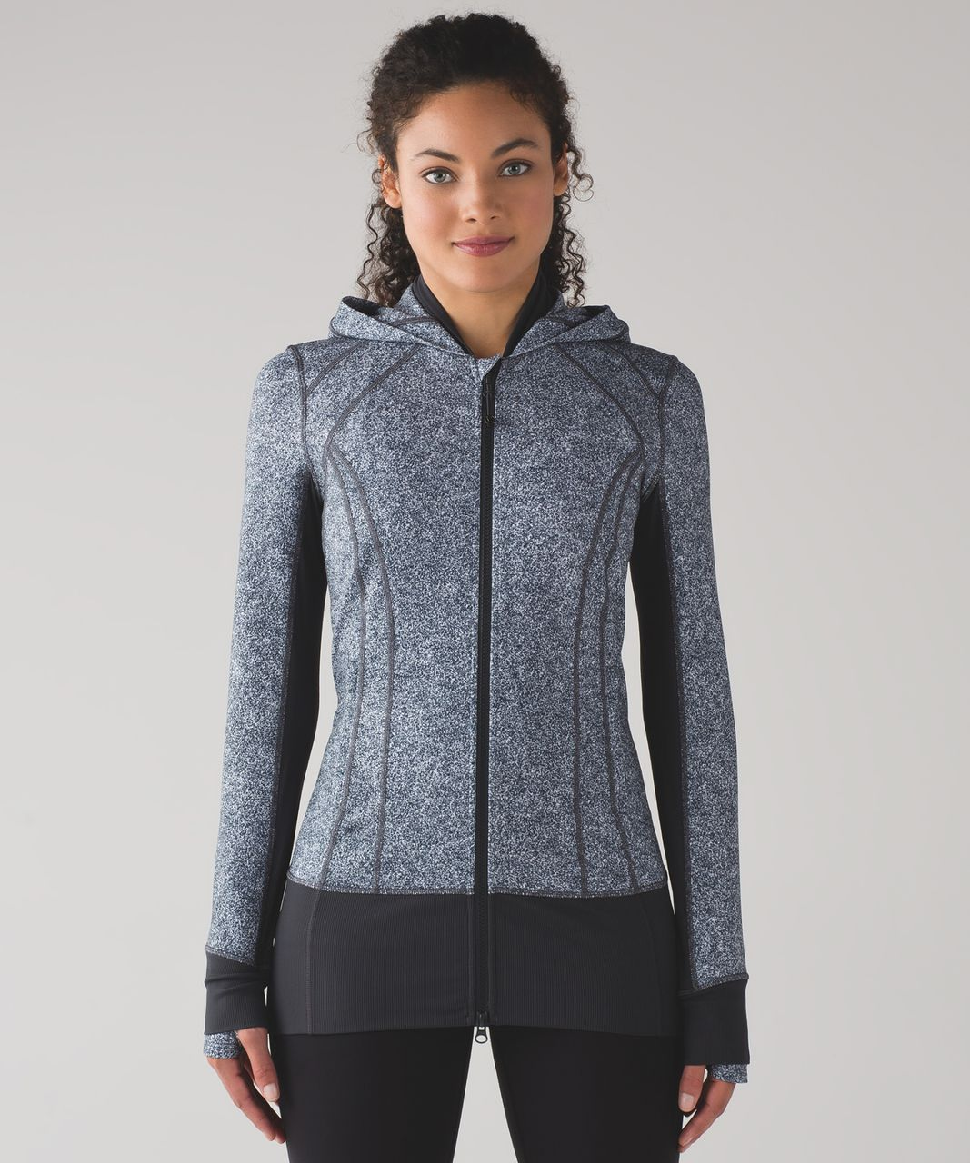Lululemon Daily Practice Jacket - Rio Mist White Black / Deep Coal