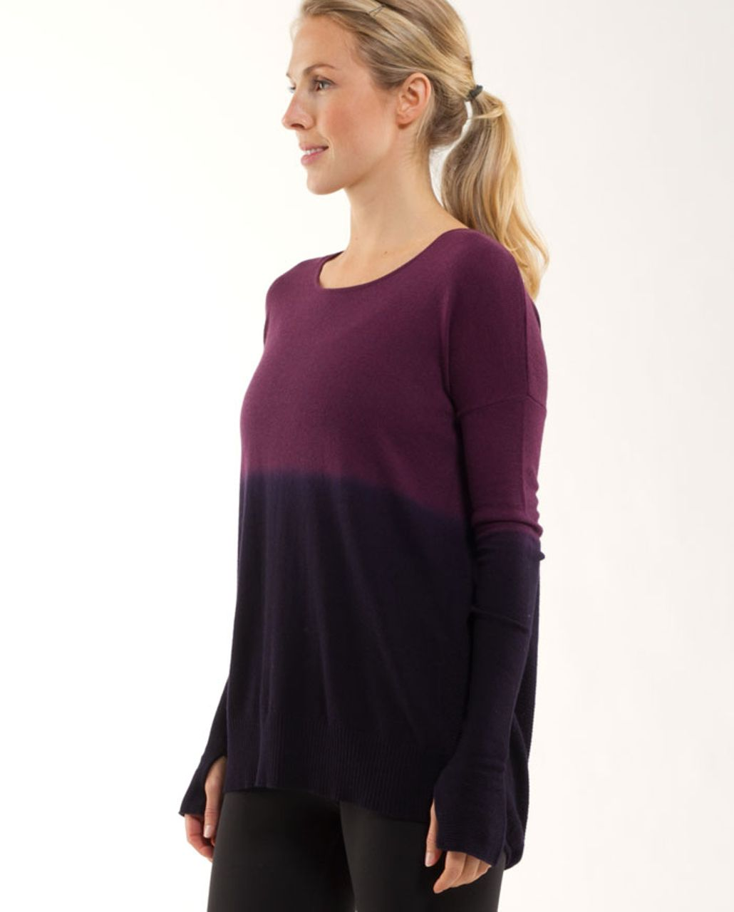 Lululemon Yoga Cozy Pullover - Heathered Plum / Black Swan