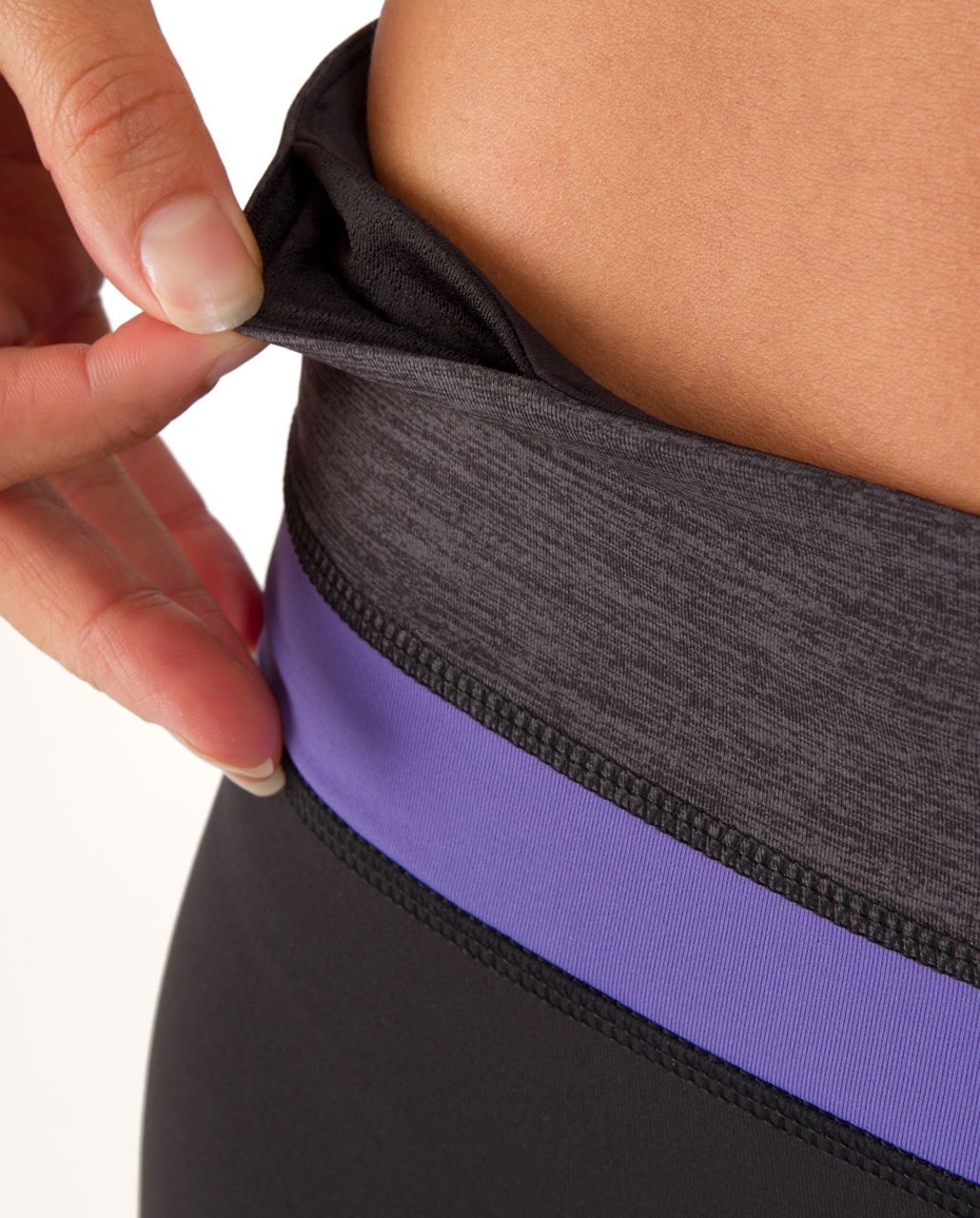 Lululemon Run: Inspire Crop II - Persian Purple / Heathered Dark Black / Black