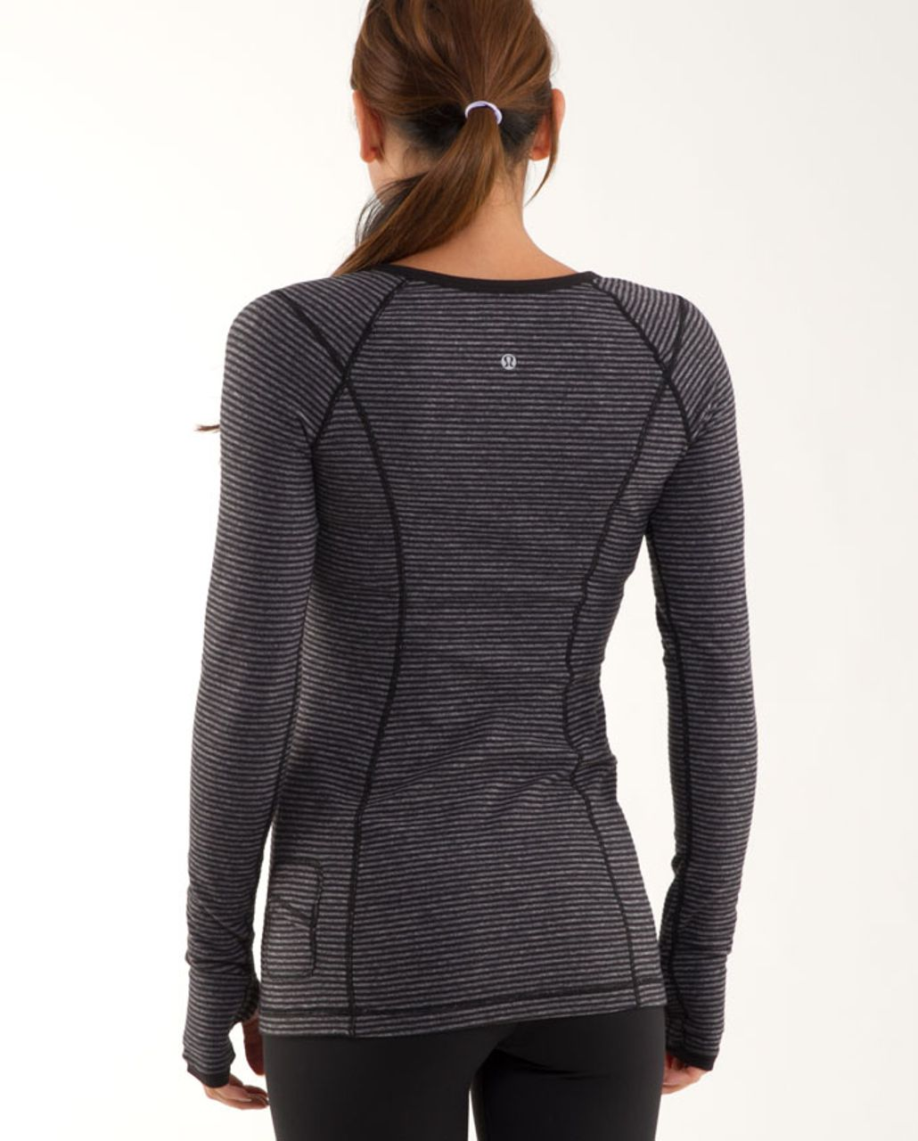 Lululemon Run: Turn Around Long Sleeve - Black Heathered Coal Mini Check /  Reflective Sparkle Splatter