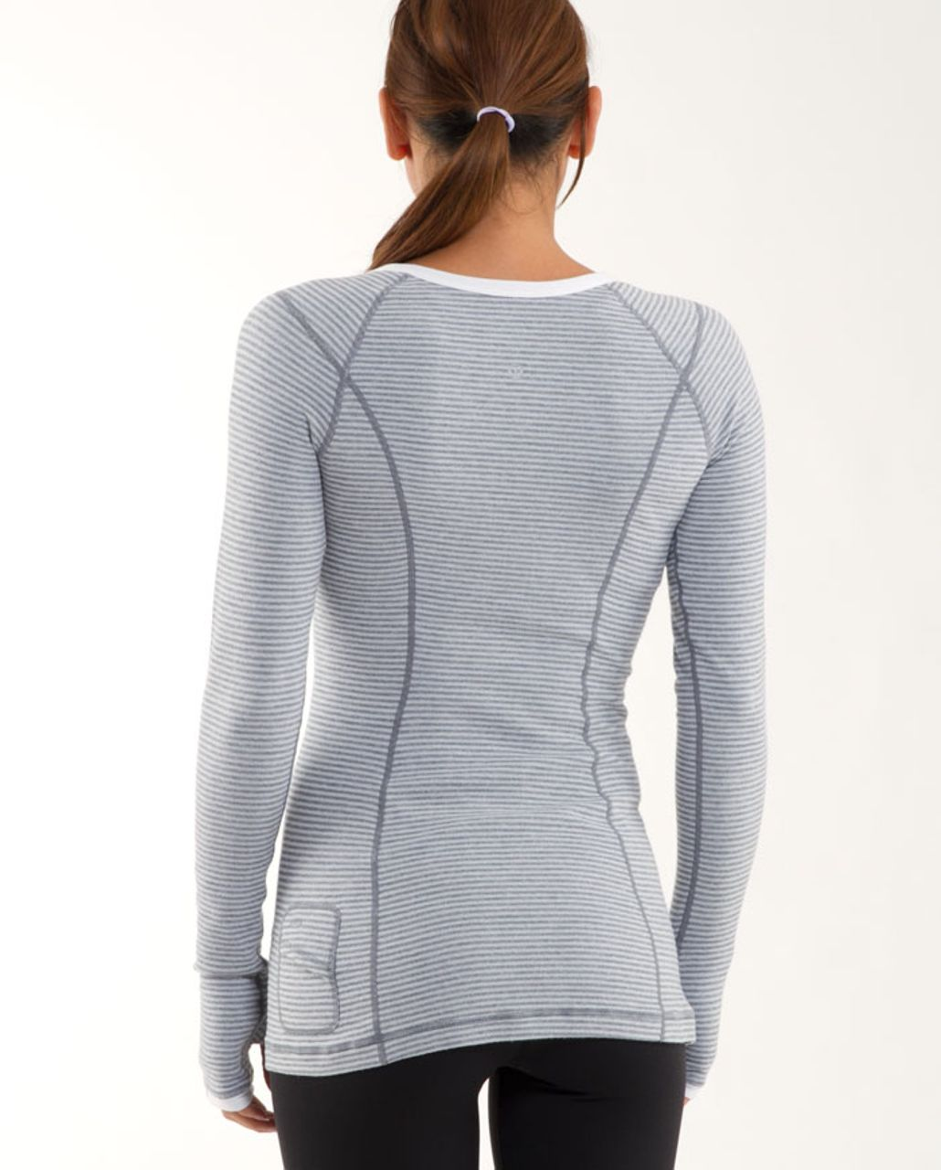 Lululemon Run: Turn Around Long Sleeve - White Heathered Blurred Grey Mini Check /  Reflective Sparkle Splatter