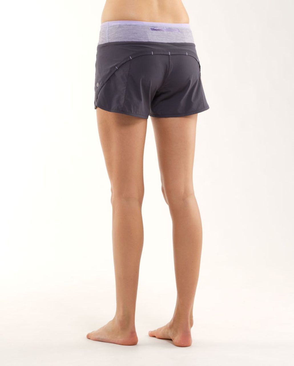 Lululemon Turbo Run Short - Coal /  Lilac Heathered Coal Wee Stripe /  Lilac