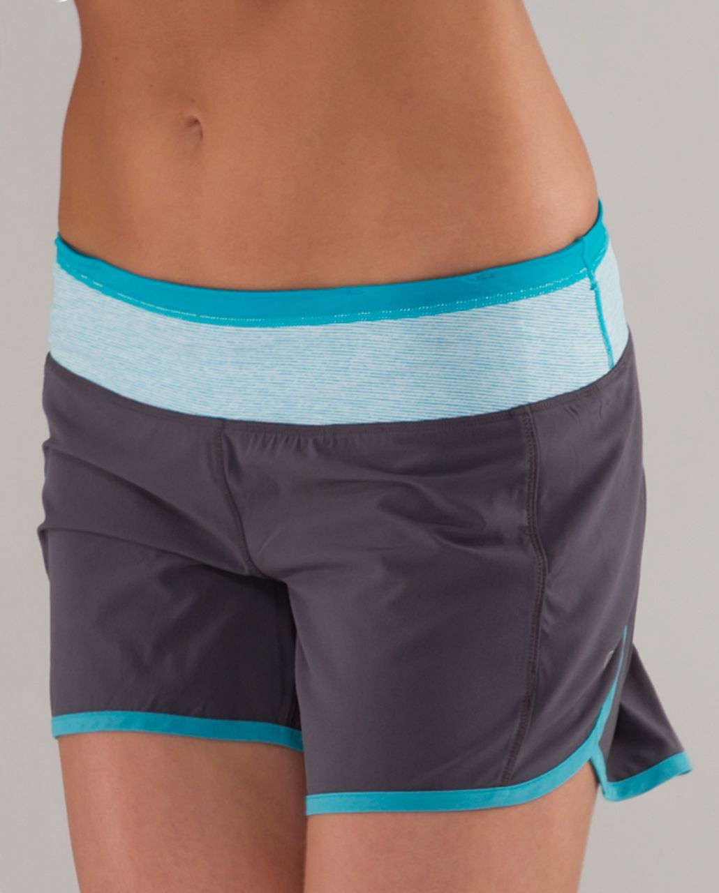 Lululemon Turbo Run Short - Coal /  Surge Wee Stripe /  Surge