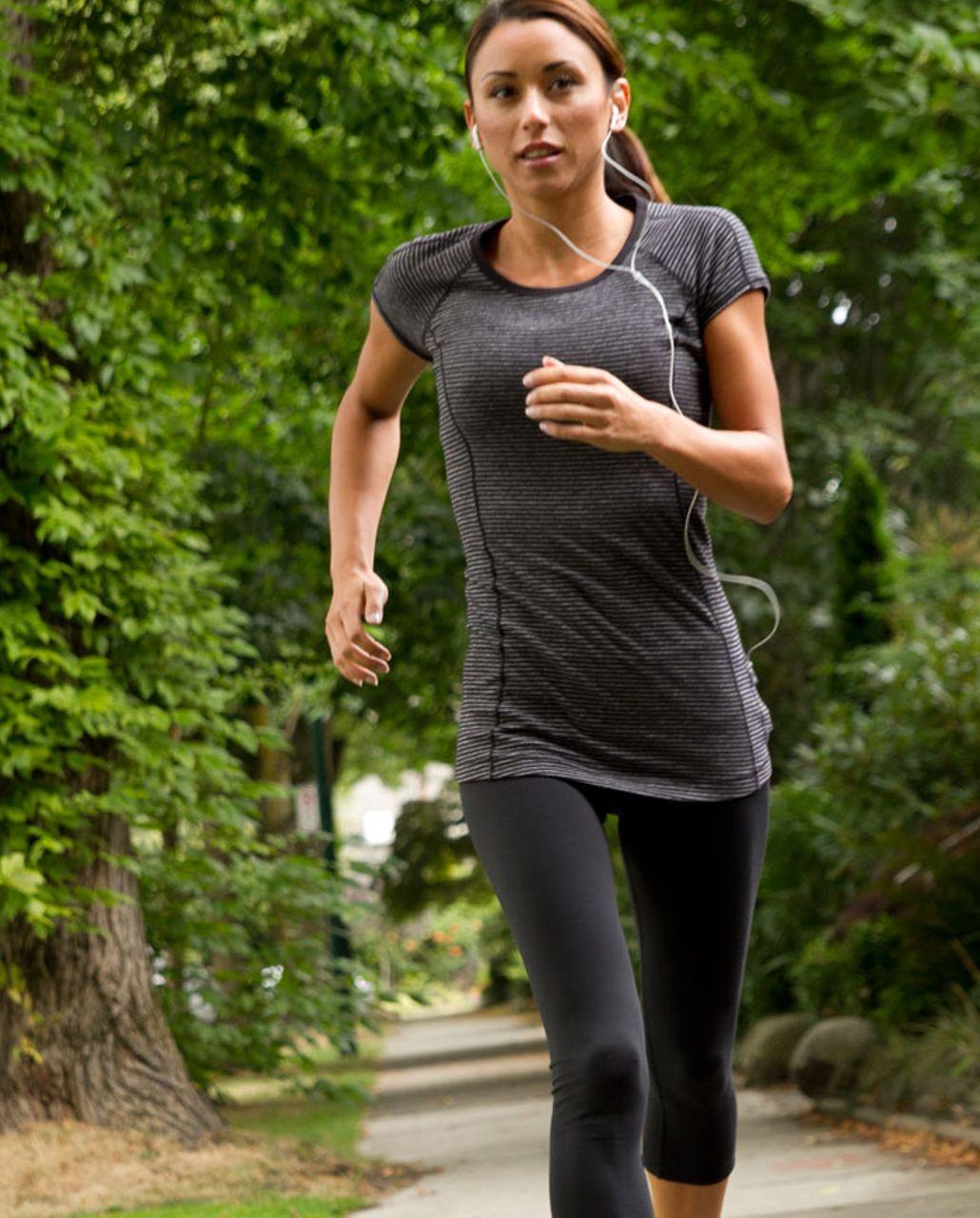 Lululemon Run:  Turn Around Short Sleeve - Black Heathered Coal Mini Check /  Reflective Sparkle Splatter