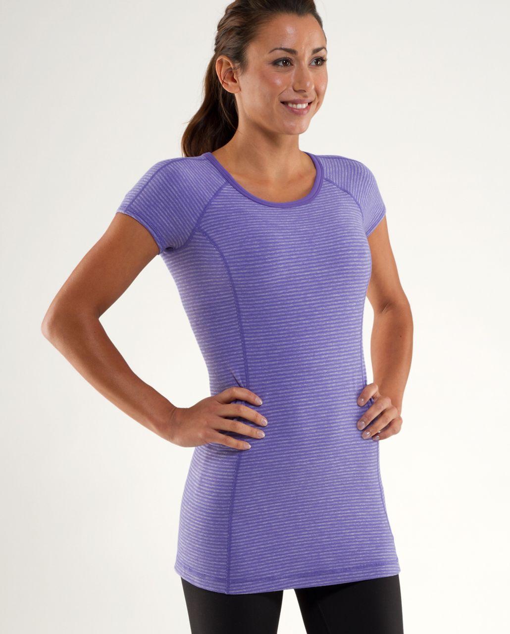 Lululemon Run:  Turn Around Short Sleeve - Persian Purple Heathered Persian Mini Check /  Reflective Sparkle Splatter