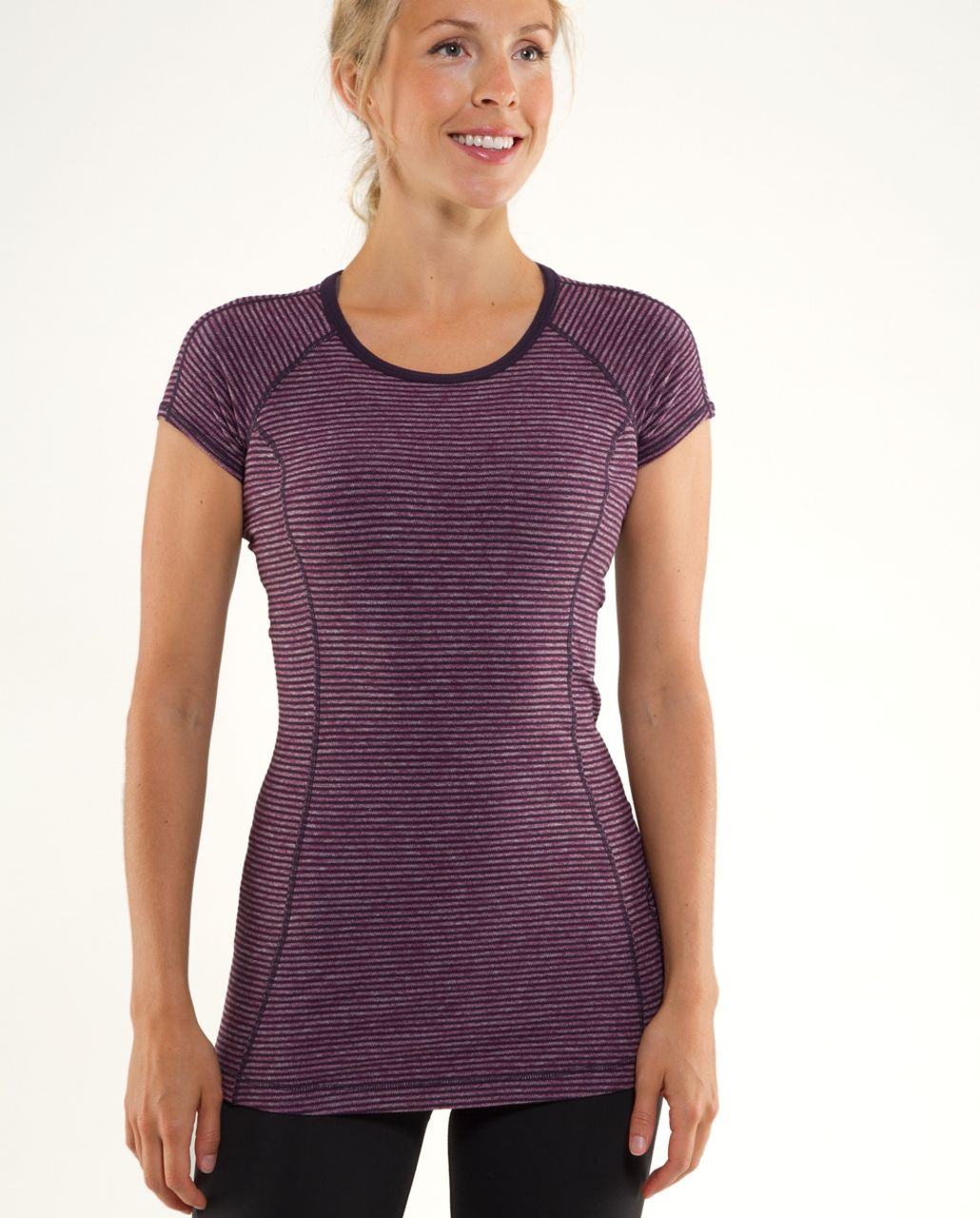 Lululemon Run:  Turn Around Short Sleeve - Black Swan Heathered Plum Mini Check /  Reflective Sparkle Splatter