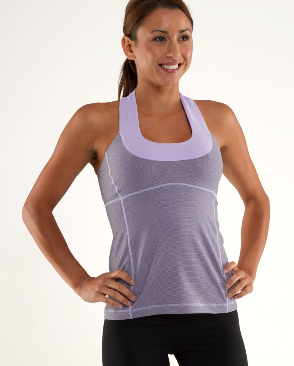 Lululemon Scoop Neck Tank - Lilac Heathered Coal Wee Stripe /  Lilac