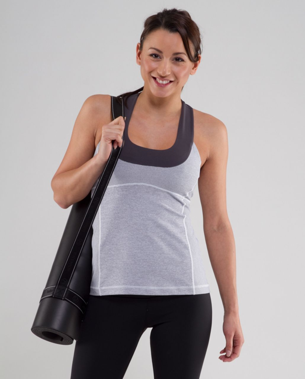 Lululemon Scoop Neck Tank - Heathered Coal Wee Stripe /  Coal