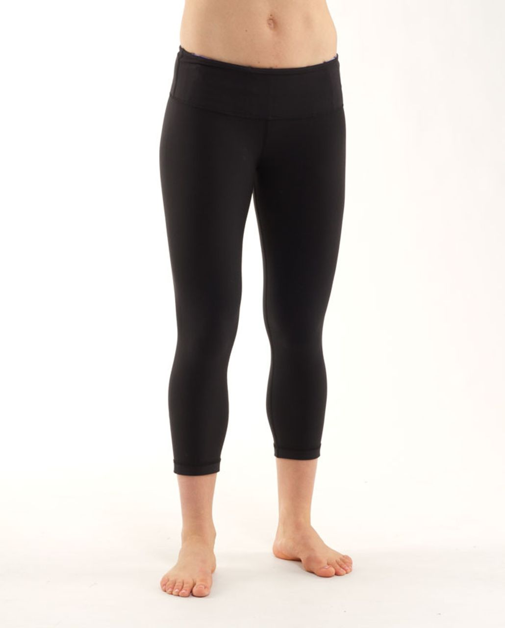Lululemon Wunder Under Crop *Pique Waistband - Black /  Winter Quilting 15