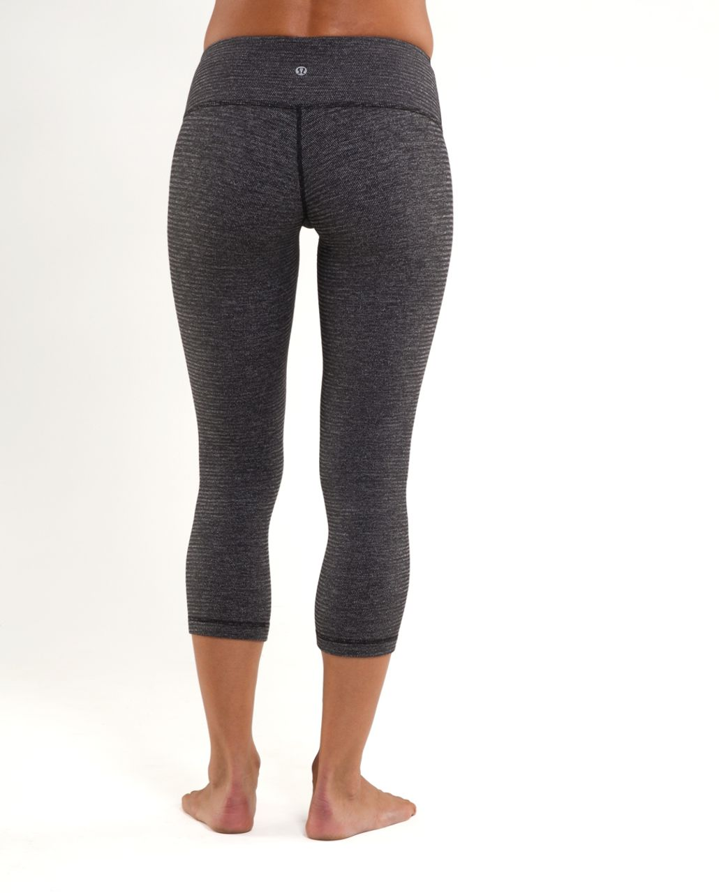 Lululemon Wunder Under Crop *Reversible - Black Heathered Coal Mini Check