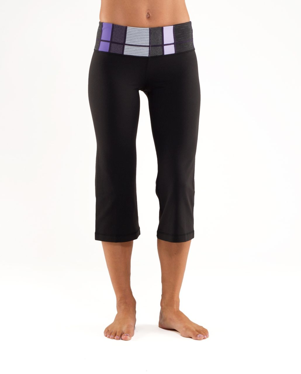 Lululemon Groove Crop - Qw18- Black /  Quilting Winter 8 /  Quilting Winter 8