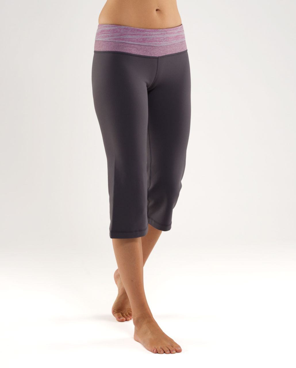Lululemon Groove Crop - Coal /  Muted Mauve Stripes Galore /  Heathered Muted Mauve