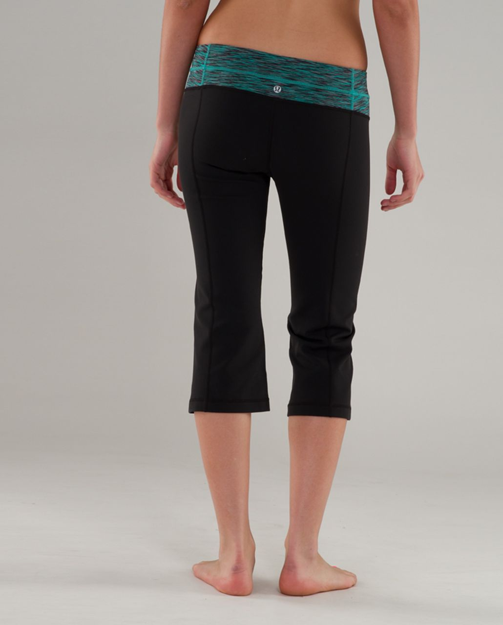 Lululemon Groove Crop - Black /  Teal Ash Space Dye