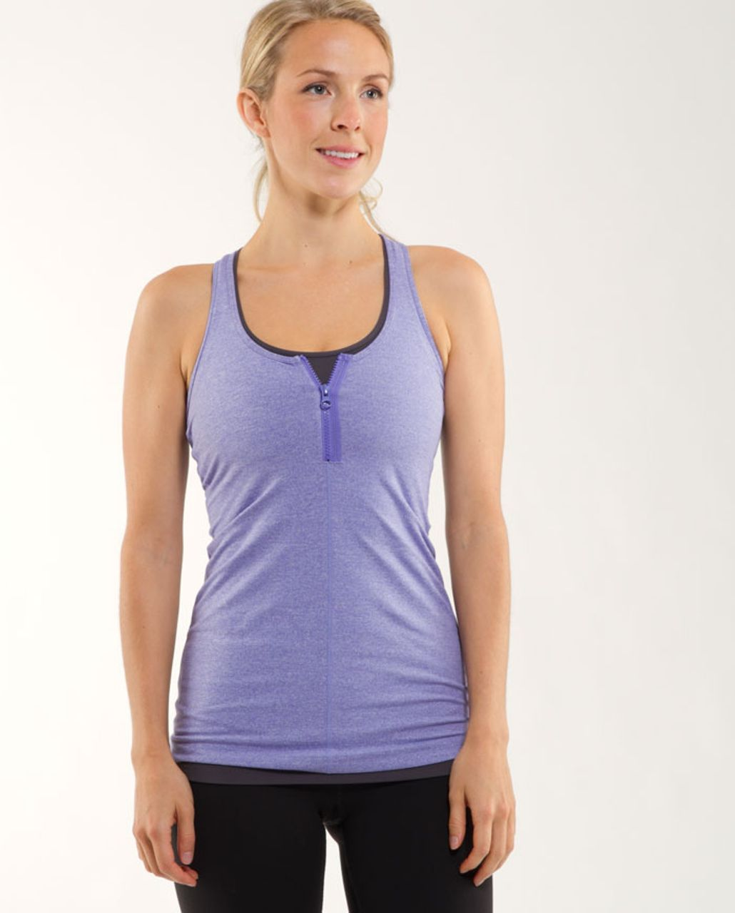 Lululemon Cool Racerback *Zipper - Heathered Persian Purple /  Persian Purple