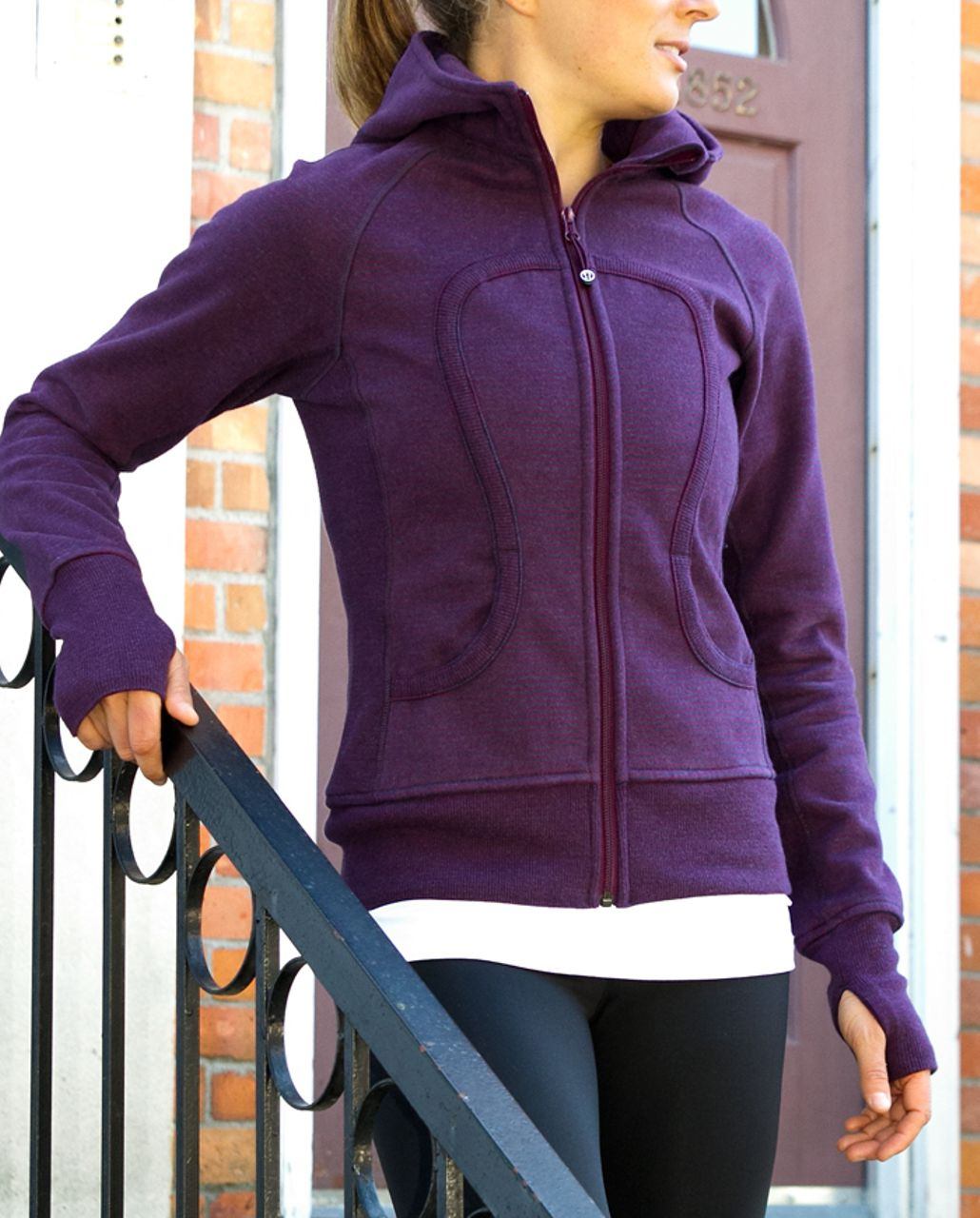 Lululemon Scuba Hoodie *Stripe - Heathered Black Swan Plum Classic Stripe /  Plum