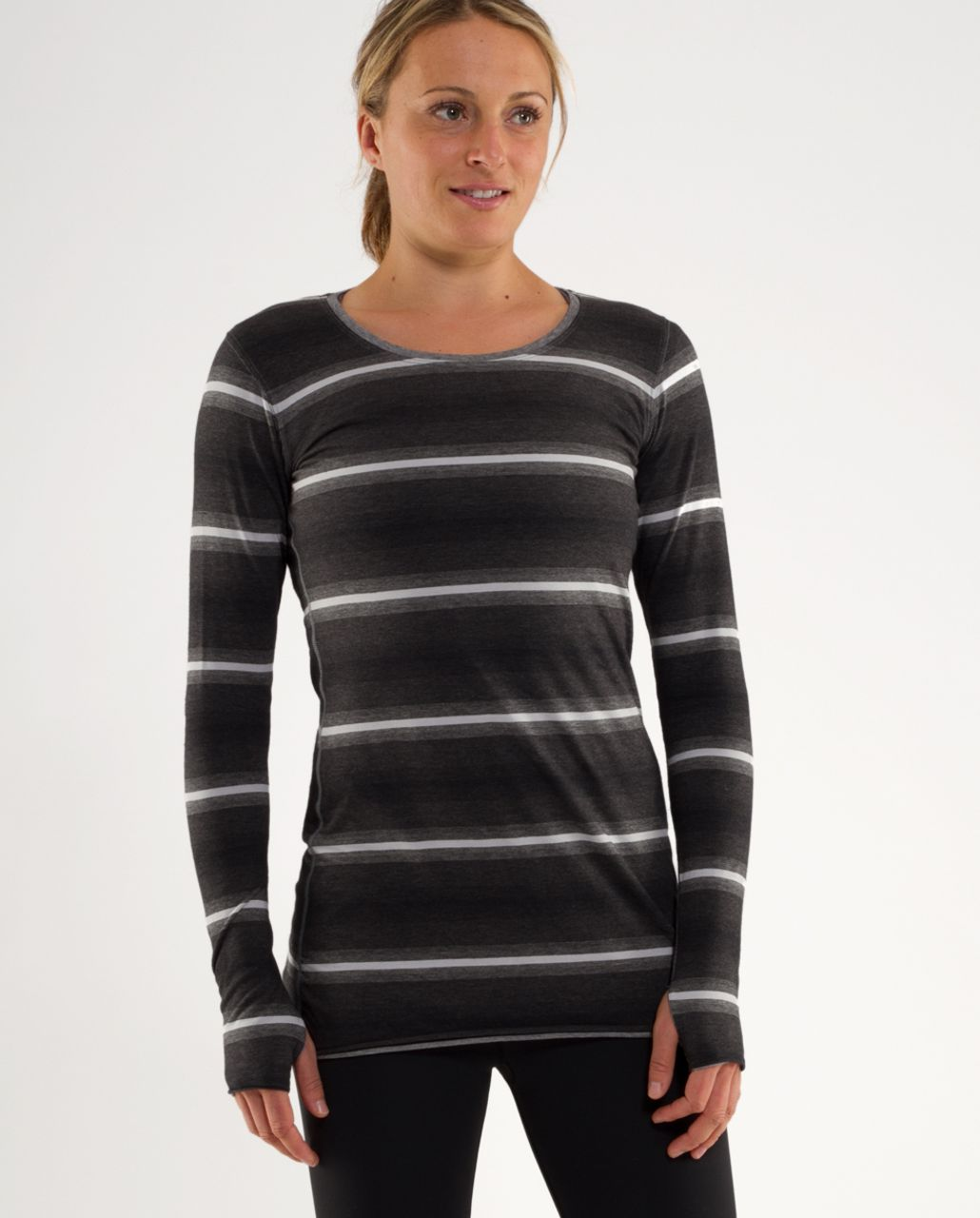 Lululemon Cabin Long Sleeve Tee II - Greys Ombre Stripes /  Heathered Blurred Grey