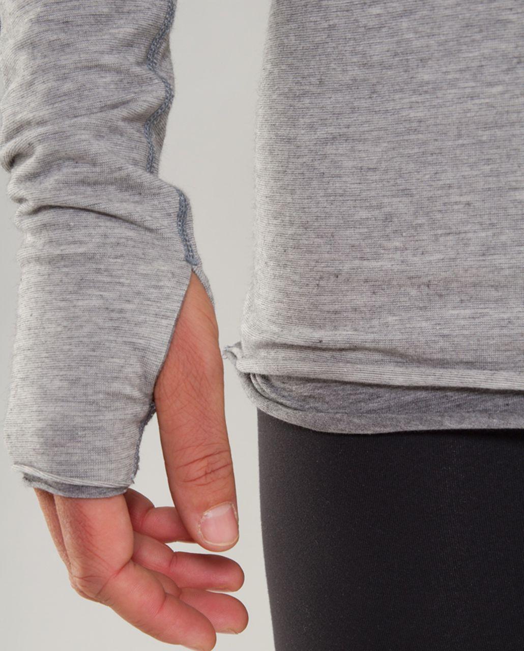 Lululemon Cabin Long Sleeve Tee II - Ghost Blurred Grey Mini Stripe /  Heathered Blurred Grey