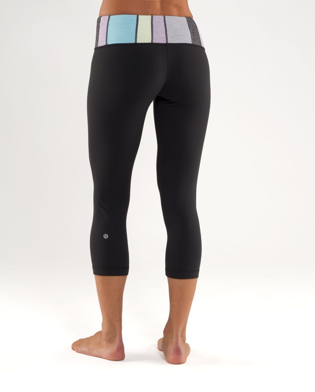 Lululemon Wunder Under Crop - Black /  Quilt 17