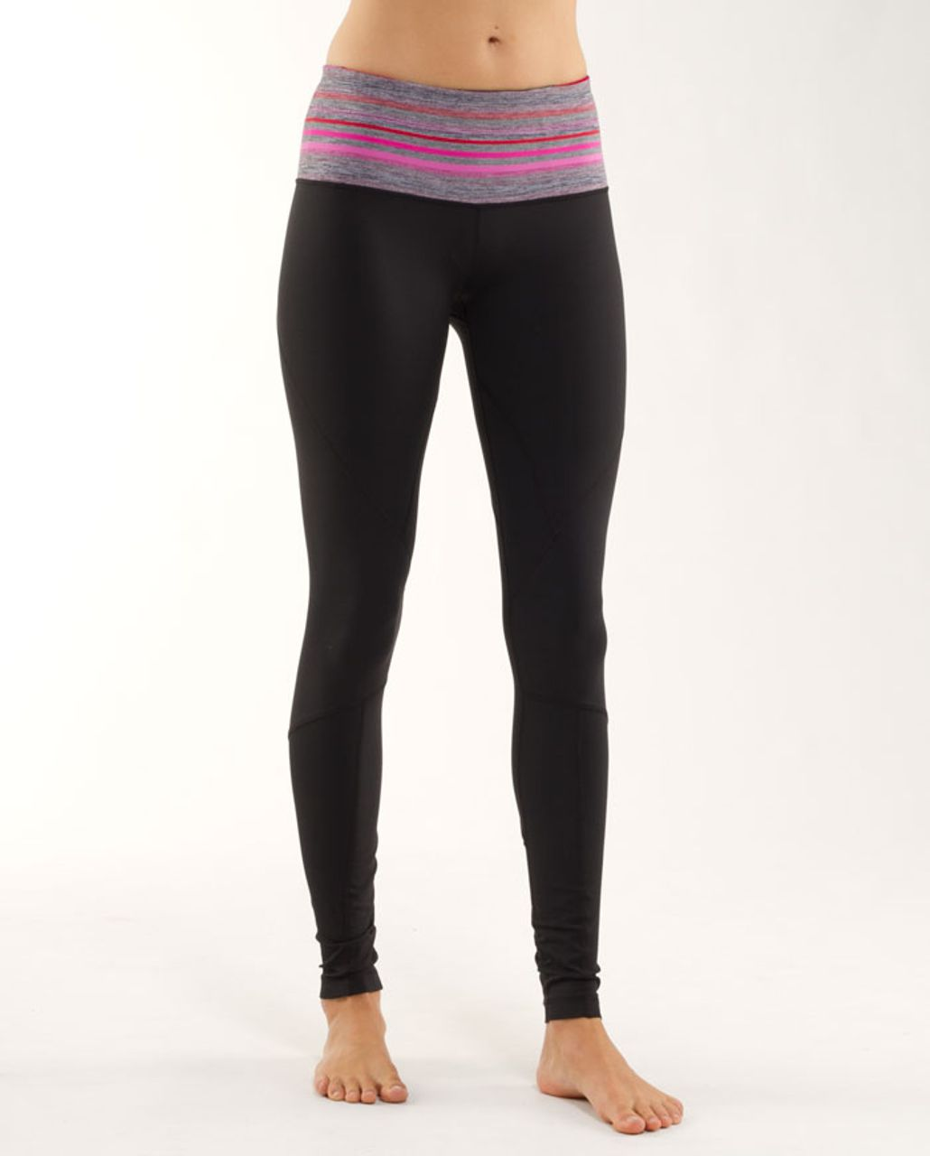 Lululemon Run:  Your Heart Out Tight - Black /  Currant Elevation Stripe /  Heathered Dark Black