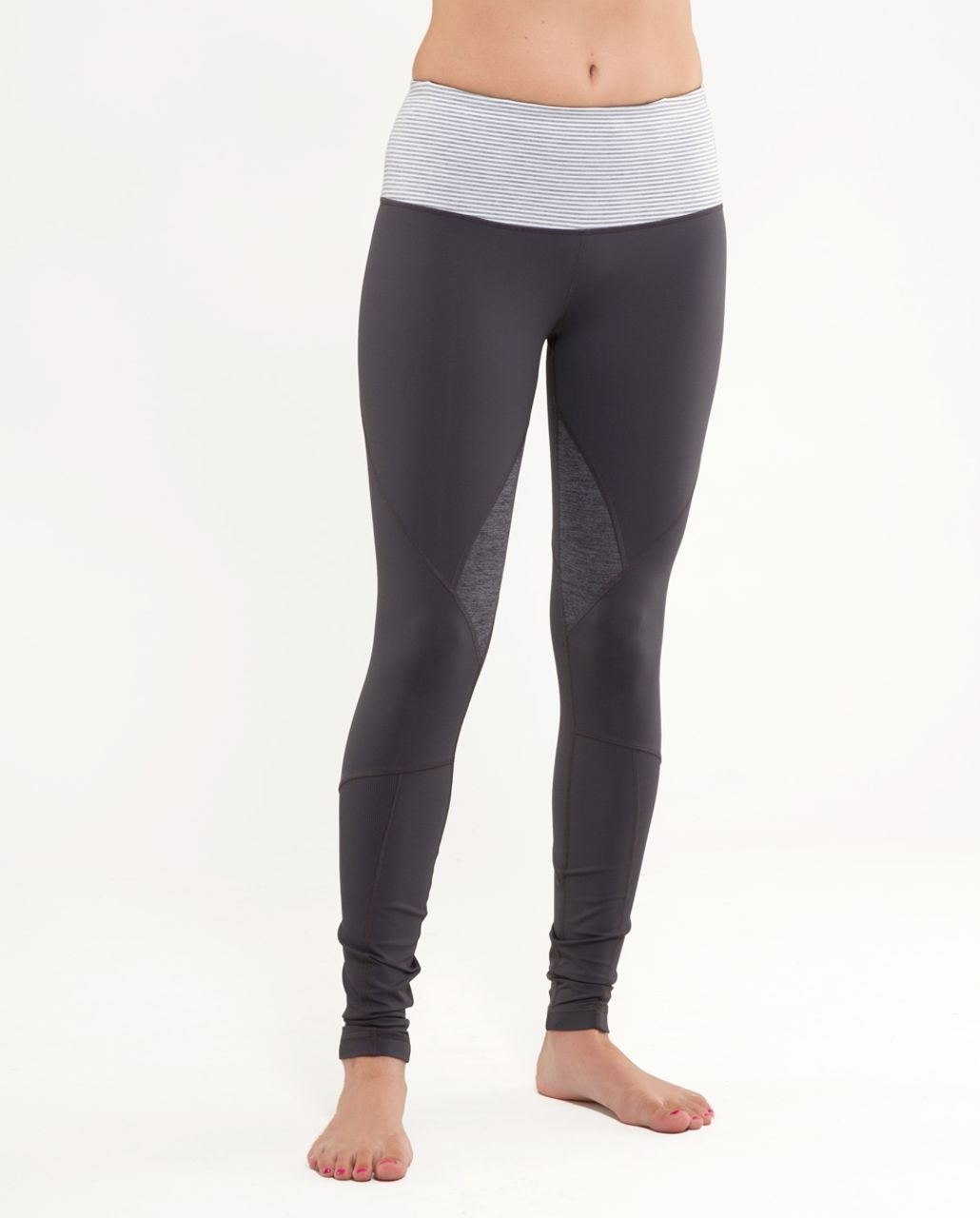 Lululemon Run:  Your Heart Out Tight - Coal /  White Heathered Blurred Grey Classic Stripe