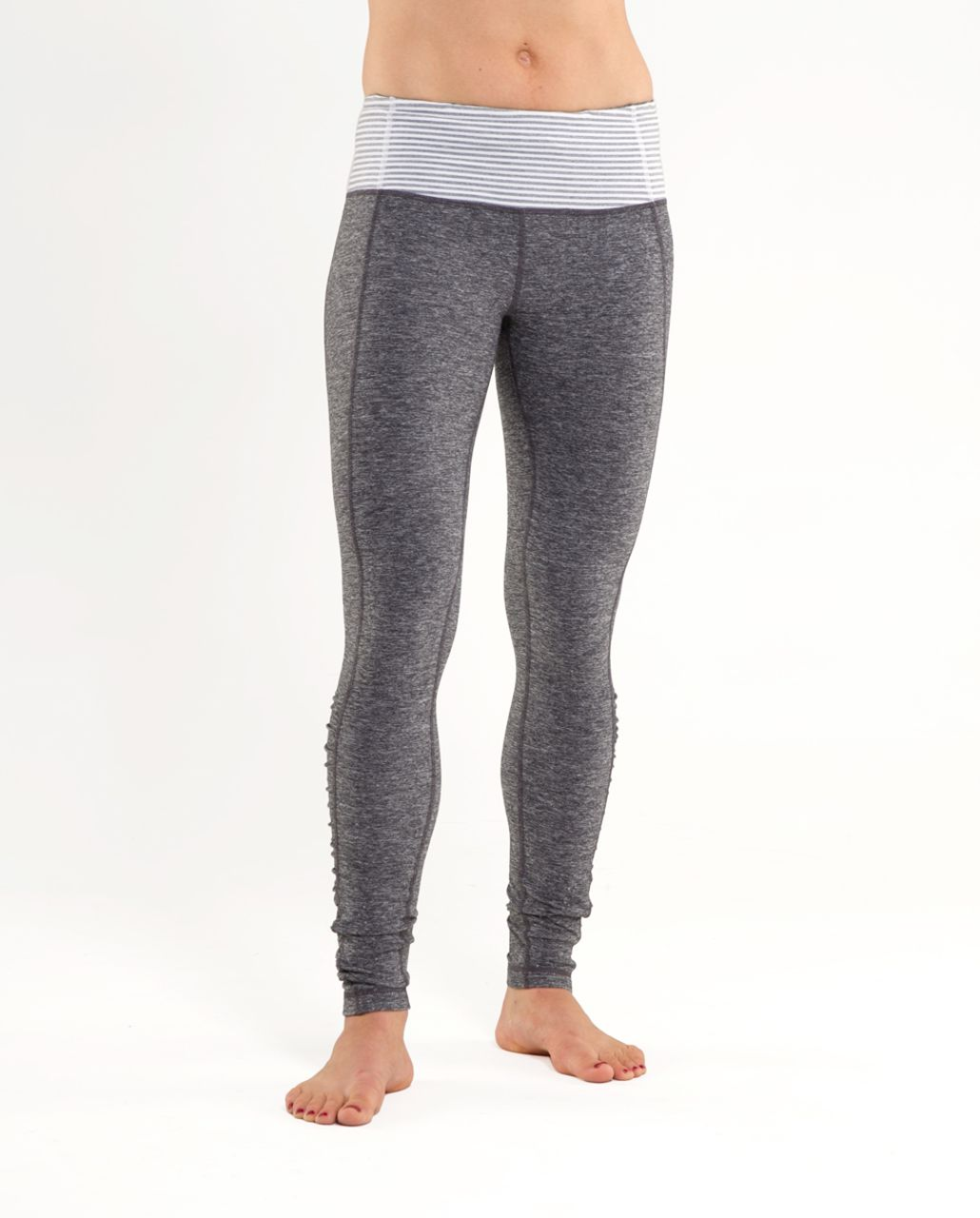 Lululemon Run:  Turn Around Tight - Heathered Deep Coal /  White Heathered Blurred Grey Classic Stripe