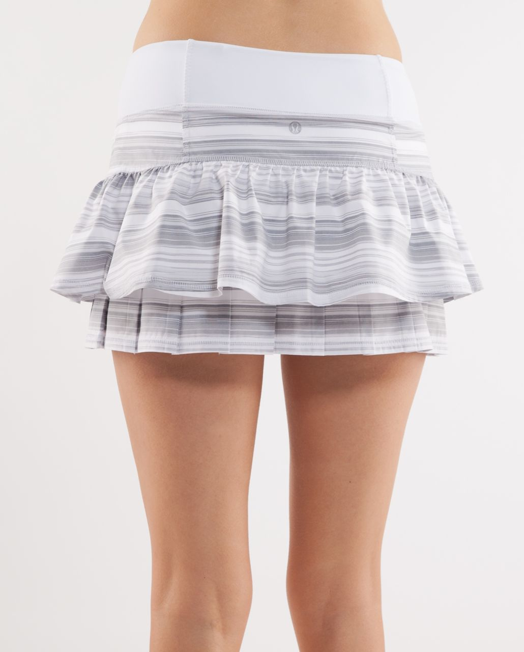 Lululemon Run:  Your Heart Out Skirt - White Elevation Stripe /  White