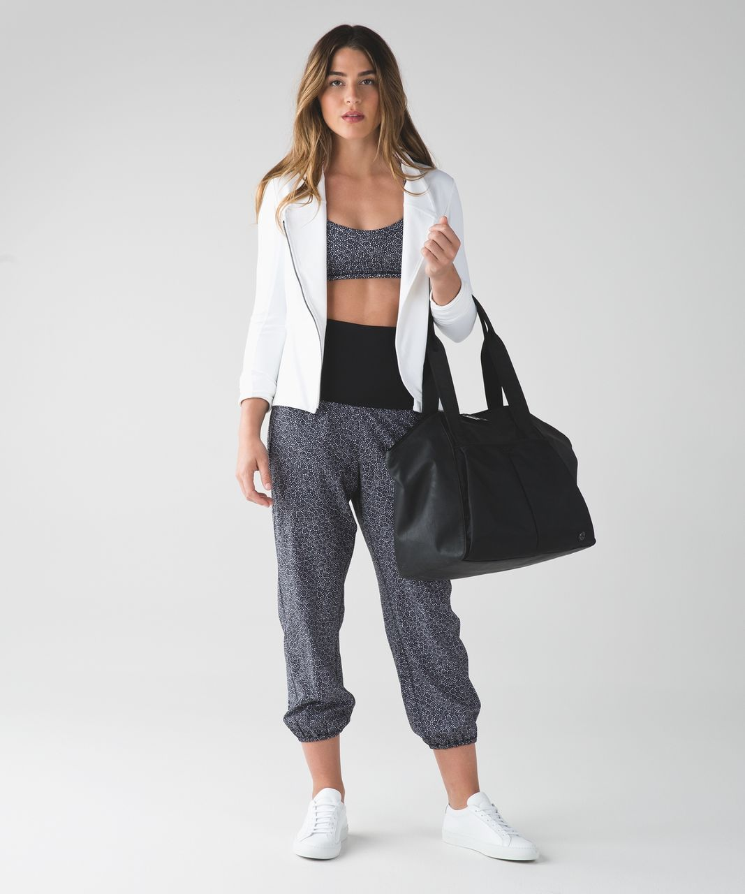 Lululemon Om Pant - Freckle Flower Black White / Black