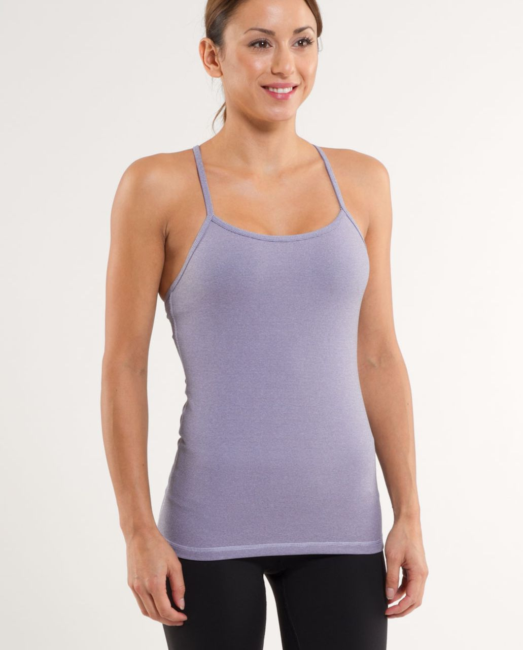 Lululemon Power Y Tank - Lilac Heathered Coal Wee Stripe